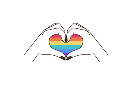 Vector illustration in flat simple linear style - hand and pride LGBT rainbow heart - lesbian gay bisexual transgender love concept, Icon and symbol for sticker,  t-shirt print and   design template