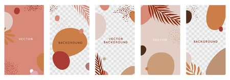 Vector set of abstract with copy space for text with tropical leaves and plants
