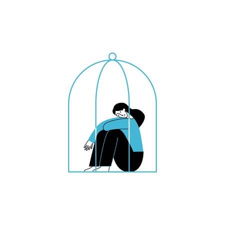 Vector illustration in line simple style with female character - loneliness and depression concept. Psychological problem - woman in a cage Stock Illustratie