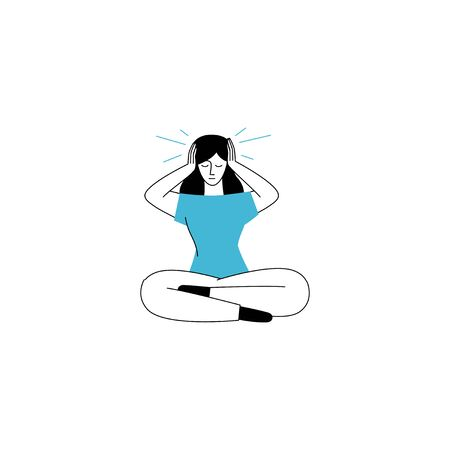 Vector illustration in line simple style with female character - loneliness and depression concept. Psychological problem, bullying and stress management