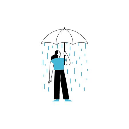 Vector illustration in line simple style with female character - loneliness and depression concept. Psychological problem - woman holding umbrella and rain Illustration