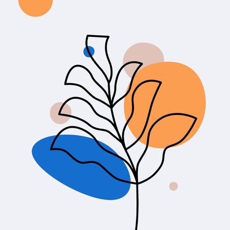 Vector abstract design templates and illustration in minimal linear style - minimalistic modern art - monstera leaf - abstract t-shirt print  - beauty and fashion concept Illustration
