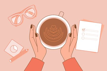 Vector simple illustration in trendy linear minimal style - coffee time - hands holding a cup with latte in a cafe top view Stock Illustratie