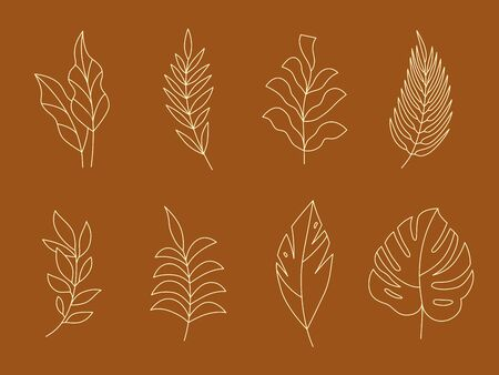 Vector set of logo design templates and monogram concepts in trendy linear style - floral design elements for greeting cards and prints - emblem for fashion, beauty and jewellery industry Illustration