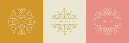 Vector design templates in simple modern style with copy space for text, flowers and leaves - wedding invitation backgrounds and frames, social media stories wallpapers, luxury stationery and greeting card designs