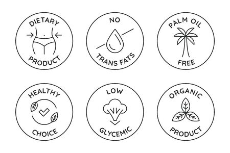 Vector set of badges and logo design templates for healthy food packaging - dietary and organic products, no trans fats and pal, oil
