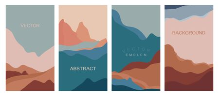 Vector set of abstract creative backgrounds in minimal trendy style with copy space for text - design templates for social media stories - simple, stylish and minimal wallpaper designs for invitations, banners, covers, flyers, packaging Illustration