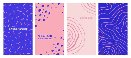 Vector set of abstract creative backgrounds in minimal trendy style with copy space for text - design templates for social media stories - simple, stylish and minimal wallpaper designs for invitations, banners, covers, flyers, packaging 矢量图像