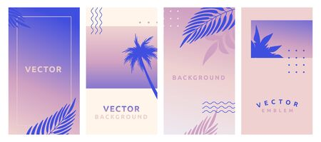 Vector set of abstract background with bright gradient colors with  frame design template -  social media stories for promotion and advertising, flyer banner, promotion and advertising design Illustration