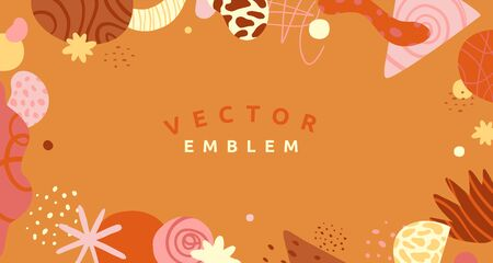 Vector abstract creative background in minimal trendy style with copy space for text and modern art shapes - digital collage, horizontal design template for social media and websites - simple, stylish and minimal wallpaper design for invitations Illustration