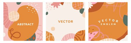 Vector set of square abstract creative backgrounds in minimal trendy style with copy space for text - design templates for social media stories - simple, stylish and minimal wallpaper designs for invitations, banners, covers, flyers, packaging
