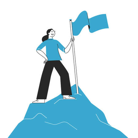 Vector illustration in flat cartoon simple style with characters - women climbing to the top of the mountain with a flag - business competition and challenge concept Illustration