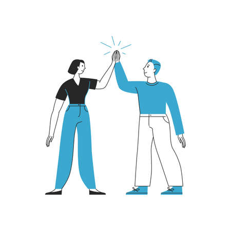 Vector illustration in flat cartoon simple style with characters - teamwork and successful partnership concept - man and woman clapping hands in high five