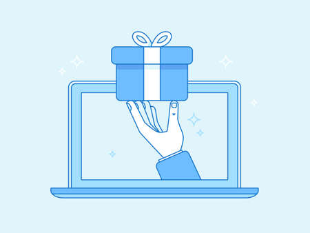 Vector illustration in flat simple style - hand giving a present through laptop - free delivery, winning prize concept