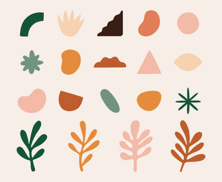 Vector set of design elements and shapes for abstract backgrounds, geometrical elements and leaves