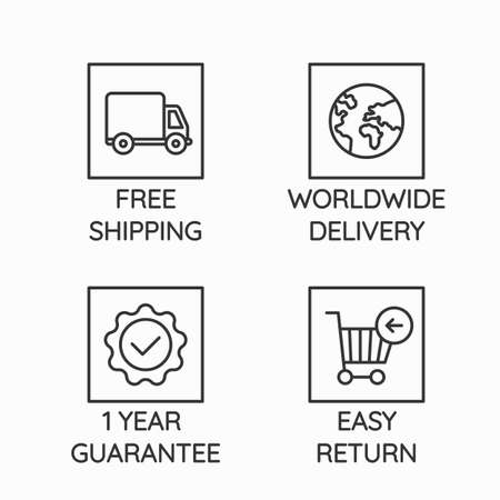 Vector icons related to e-commerce and online shopping - free shipping, worldwide delivery, 1 year guarantee, easy returns Illustration