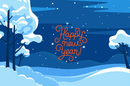Vector illustration in trendy flat simple style - Merry Christmas and Happy New Year greeting card and banner - winter landscape