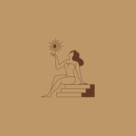 Beautiful female figure. Vector  design template and illustration in simple minimal linear style - body positive emblem, abstract badge for lingerie designer, modern feminine art