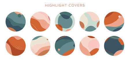 Vector set of abstract creative backgrounds in minimal trendy style with copy space for text - design templates for social media stories highlight covers - simple, stylish and minimal wallpaper designs for invitations, banners, covers, flyers, packaging