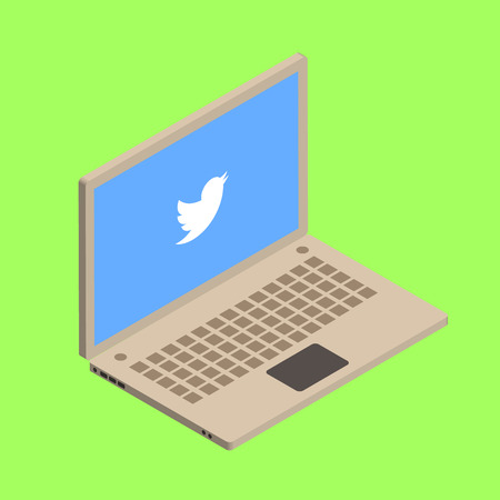 twitter: Isometric vector illustration on twitter bird with laptop. Illustration