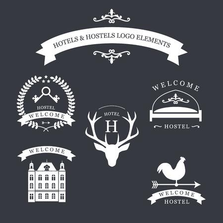 logotipo de la vendimia con los ciervos, kyes, veleta, la cama y el edificio antiguo para el albergue logotipo.