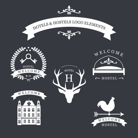 Vintage logo with deer, kyes, weather vane, bed and old building for hostel logotype. Illustration