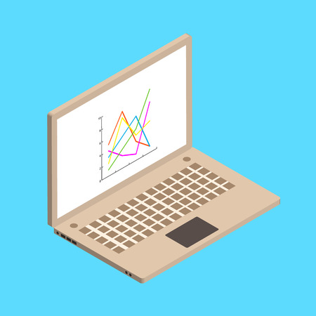 line chart: Isometric illustration witn laptop and line chart on blue background. Vector illustration. Illustration