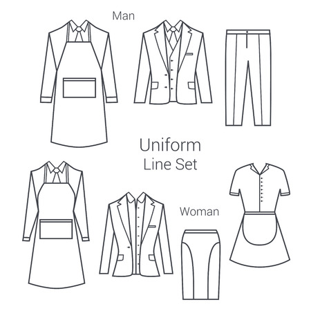 hotel worker: Office worker in uniform. Restaurant and hotel worker. Maid and garson clothes. Illustration
