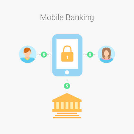checkout line: Pyament of mobile banking. Mobile banking with smart phone and paycheck. Flat design, vector illustration. Illustration