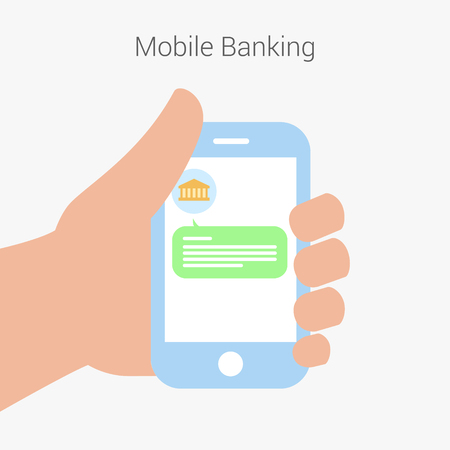 sms payment: Mobile payment credit card, hand holding phone, flat design. SMS from the bank.