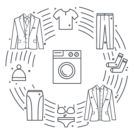 reagents: Dry-cleaning and laundry objects. Line icon illustration. Unique concept with different clothes elements: washer, jacket, skirt, hat, socks, t-shirt. Illustration