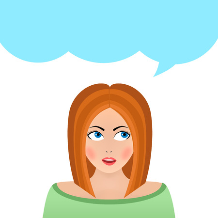 portiere: illustration portrait of a beautiful woman thinking isolated on white background. Portiere of a thoughtful girl woman. illustration cartoon.