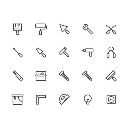 lijn icon set van huis verbouwen. Huis verbouwen elementen. Reparatie en de bouw gereedschap adn apparatuur icon set.