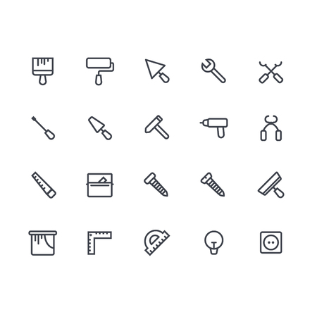 pictogramm: line icon set of house remodel. House remodel elements. Repair and construction tool adn equipment icon set.