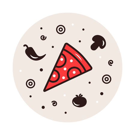 pizza ingredients: Traditional Italian food. Pizza ingredients illustration in circle background: tomato, pepper, mushroom, olive, shrimp.