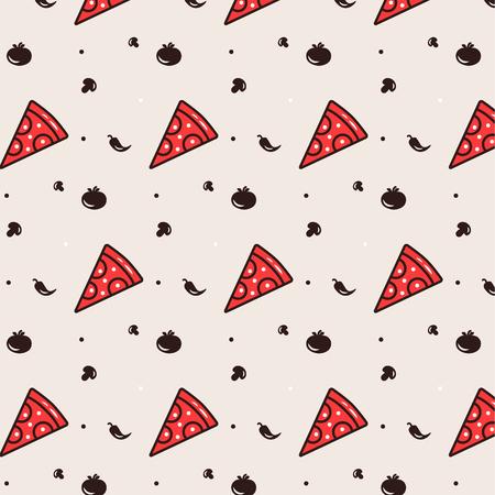 italian food: Pizza seamless pattern with pizza, tomato, pepper, mushroom. Traditional Italian food. Illustration