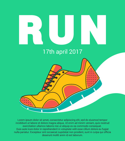 Running marathon. Colorful poster with running shoes ant text. Flat design.