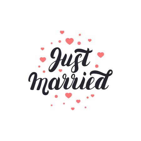 Juste marié manuscrit des lettres avec le fond des coeurs pour les cartes de mariage et d'invitation. Vecteurs