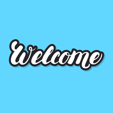 cordial: Welcome hand lettering. White letters with black chadow on blue background. Design for greeting card, poster, banner. Illustration