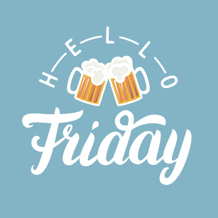 basic letters: Hello Friday hand lettering with pint of beer on blue background. Motivational quote for greeting card, art poster graphics.