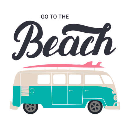 tiki party: Go to the beach hand lettering with surf bus