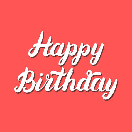 finesse: Happy Birthday hand lettering on red background