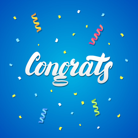 Congrats hand written lettering with confetti and paper streamers for greeting card, banner, poster. Festive blue background.
