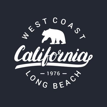 California handwritten lettering. Tee apparel fashion design. Bear silhouette.