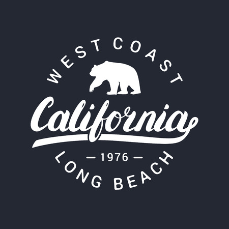 California handwritten lettering. Tee apparel fashion design. Bear silhouette. Illustration