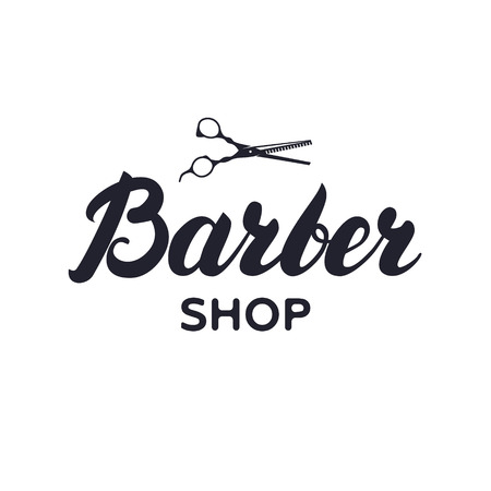 barbershop: badge for barbershop hair salon with scissors Illustration