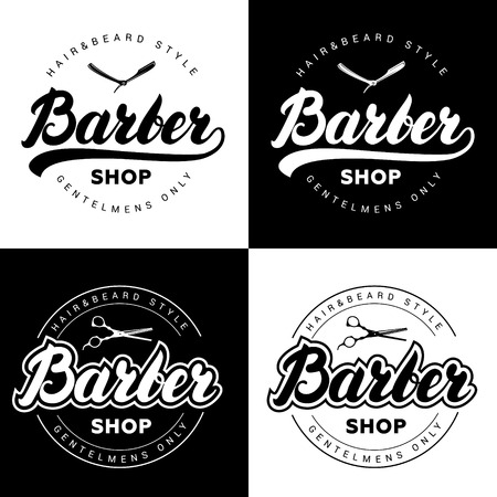 barber shop: Set of vintage barber shop