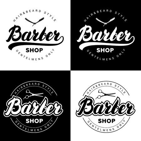 Set of vintage barber shop