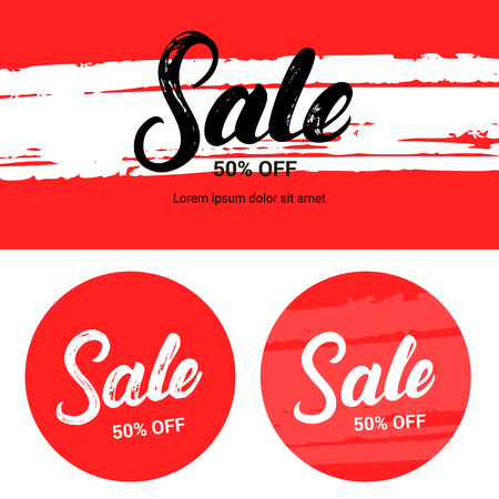 closeout: Sale up to 50 percents off. Banner set. Hand written lettering with brush texture. Vector illustration.