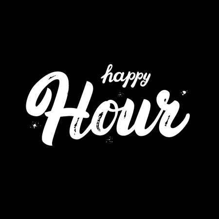 hour hand: Happy Hour hand written lettering. Brush texture. Isolated on black background. Vector illustration. Illustration